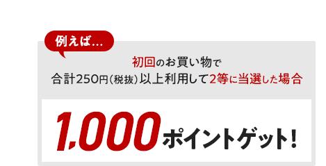 例えば初回のお買い物で合計250円(税抜)以上利用して、2等に当選した場合1,000ポイントゲット!